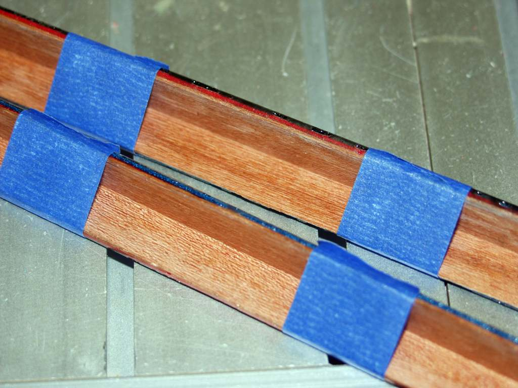 Strips glued together and clamped with painter's tape